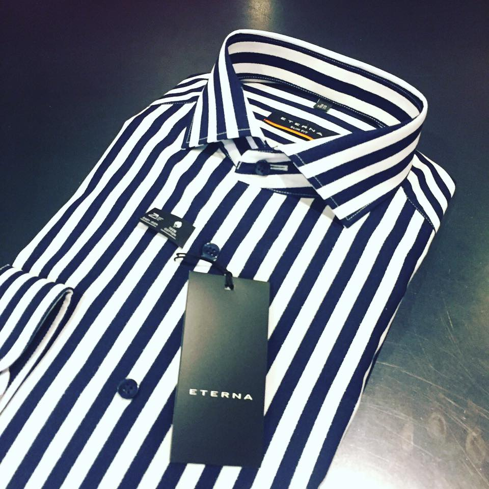 Mens Clothing In Kitsilano Andrew Smith Abstract Linen Shirt Navy Xxl The Cole Painted Bengal Stripe From Eterna Easy Iron Cotton With A Slim Fit And Modern Spread Collar Available Now At Staccato For Fall